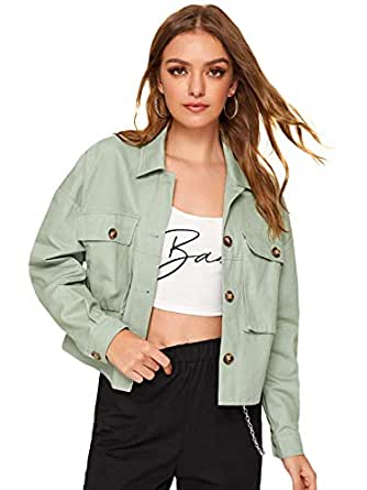 Milumia Women's Dual Pocket Corduroy Solid Jacket Single Breasted Lightweight Coat Outer Tops - Green - Small