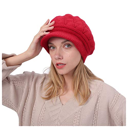 Women Knitted Newsboy Beret Hat,Crytech Winter Warm Slouchy Thicken Twist Crochet Solid Wool Knit Cable Beanie Skull Cap with Visor Autumn Cold Weather Gatsby Snow Ski Cap for Lady (Red)