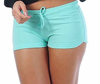 Women's Sexy Yoga Booty Pilates Frensh Terry Basic Shorts Aqua Green X-Small