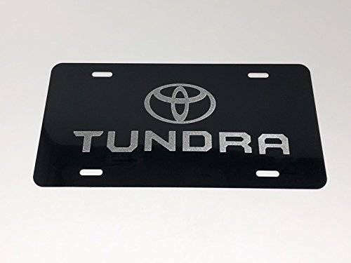Diamond Etched Toyota New Tundra Logo Car Tag on Aluminum License ()