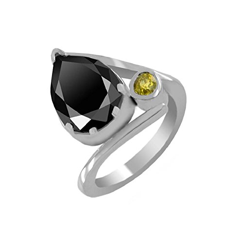 Certified 1.52 Ct Pear Shape Black Diamond with Gemstone Accents Silver Ring by skyjewels