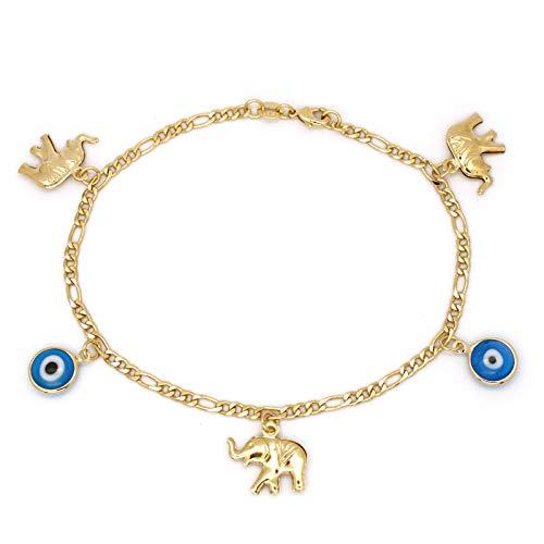 JEWELRY PARADISE Elephants & Blue Evil Eye Glass Beads Woman Good Luck Charm Anklets Bracelet Chain Protection 14kt Gold Filled Overlay Jewelry Lucky Kabbalah Ankle Elefante Ojo Turco (B, 9.7 inch) - Evil Charm Eyeglass