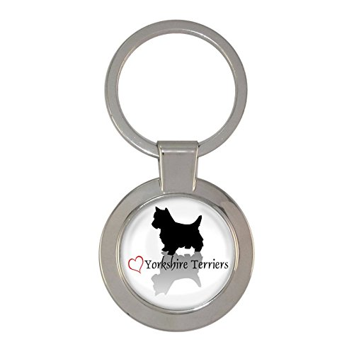 (Stylish Heart Yorkshire Terriers Design Chunky Keyring)