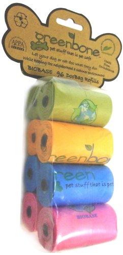 Greenbone Biobase Refill Pet Waste Bag, 8 Rolls, Assorted Colors, My Pet Supplies