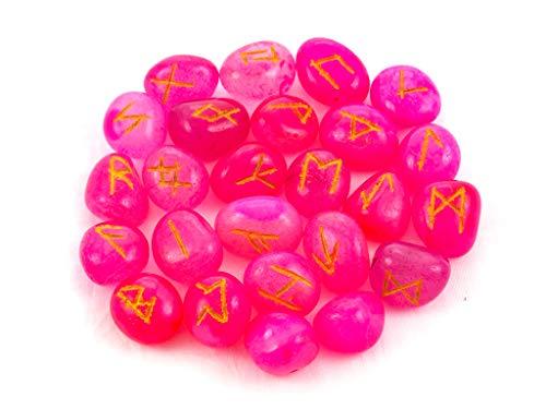 Runes Pink Onyx Rune Stones Set Crystal Runes Viking Elder Futhark Runic Alphabets