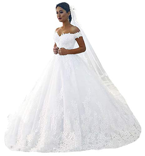 Fanciest Women#039s Lace Wedding Dresses for Bride 2020 Ball Gowns White US12