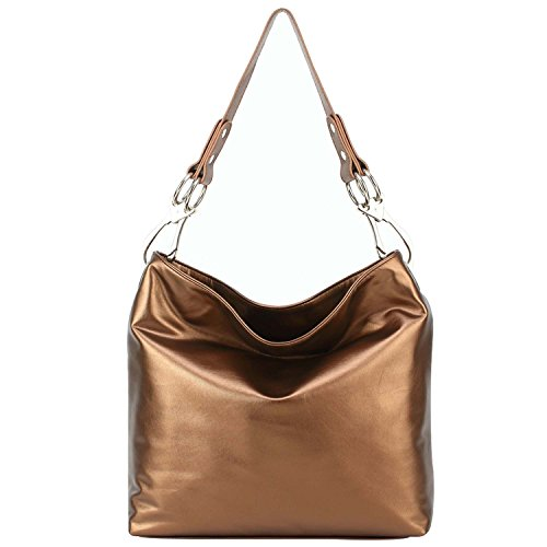 FASH Limited Chic Hobo Handbag Glossy Texture PU Leather Handbag - Copper - Copper Womens Handbag