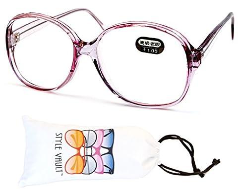 E3035-vp Style Vault Oversized Reading Eyeglasses (B1867F +1.00 Crystal Pink)