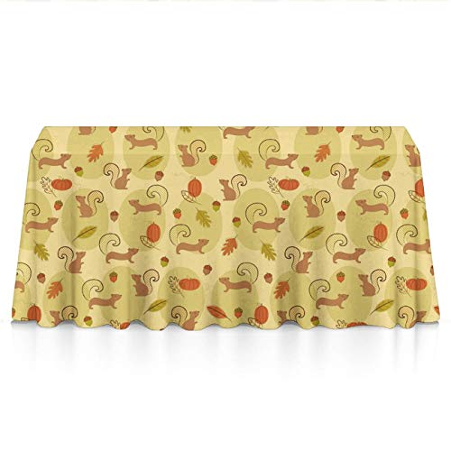 NiYoung Luxury Table Covers for Dinner Parties, Catering Events, Trade Show - Cute Squirrels Pine Nut Pumpkin Dust-Proof Wrinkle Free Table Protectors Polyester Table Art