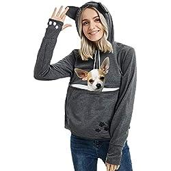 Womens Pet Carrier Shirts Kitten Puppy Holder Sweatshirt Animal Pouch Hood Tops Dark Grey