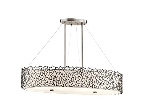 Kichler 43348CLP Silver Coral 4-Light Oval Pendant and White Fabric Shade with Frosted Diffuser, Classic Pewter Finish