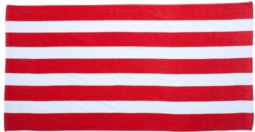 ZUZIFY Cabana Stripe Velour Beach Towel. MN0357 OS Red (Cabana Stripe Shirt)