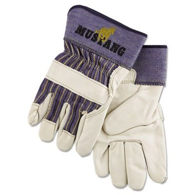 MPG Mustang Leather Palm Gloves, Blue/Gray, Extra Large, 12 Pairs (1935XL) ()