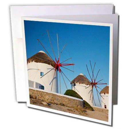 3dRose Danita Delimont - Windmills - Greece, Mykonos. Windmills along the water - 12 Greeting Cards with envelopes (gc_277436_2) (Mykonos Water)