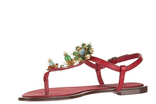 Dolce&Gabbana tongs femme en cuir iguana stromboli rouge EU 38 CQ0073AD34780303
