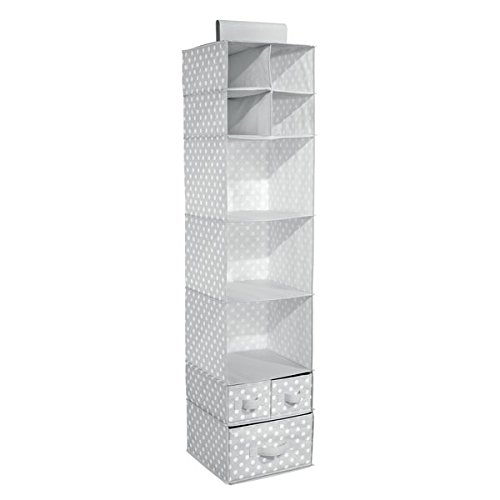 mDesign Soft Fabric Over Closet Rod Hanging Storage Organizer with 7 Shelves and 3 Removable Drawers for Child/Baby Room or Nursery � Polka Dot Pattern, Light Gray with White Dots by mDesign (Image #3)