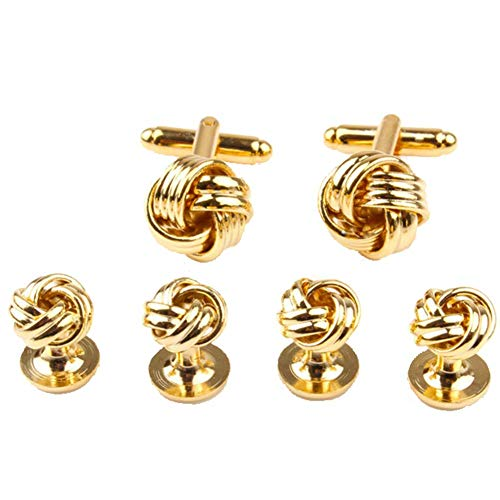 GESDY Twist Knot Cufflinks and Tuxedo Shirt Studs Formal Gold Tone Cuff Links Studs Wedding Accessory