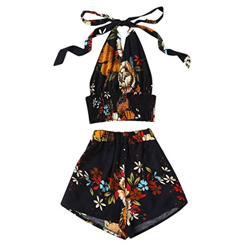 EDC 2019 Summer Womens Floral Printed Sets Halter Neck Blouse Pullover Tops Tees T-Shirt Shirts and Shorts Pants Suits 2PCS (Black, S)