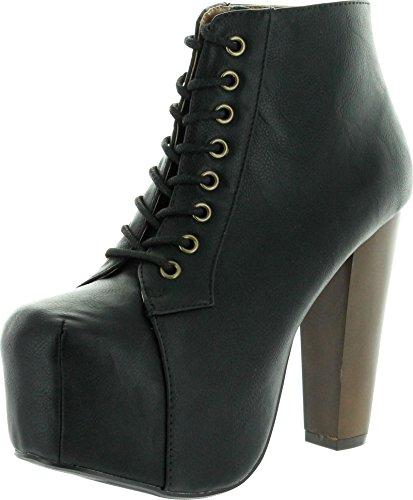 Speed Limit 98 Womens Rosa Chunky High Heel Lace Up Ankle Boot Bootie