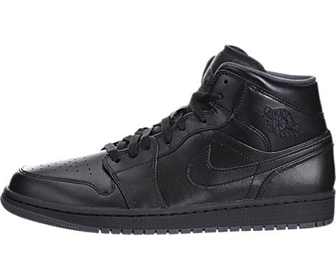 Nike Men's Air Jordan 1 Mid Black/Black/Dark Grey Basketball Shoe - 9 D(M) US
