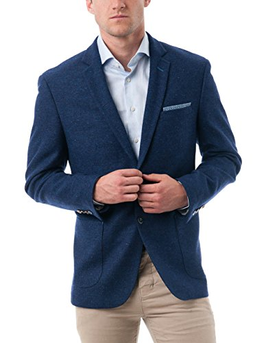 Chama Men's Two Buttons Navy Blue & Black &Light Grey Wool Blend Classic Fit Casual Sports Coat Blazer Jacket with Notch Lapel (Blue, 44R)