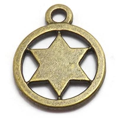 10 Sheriff Star Charms bronze brass tone (Badge Charm Sheriffs)