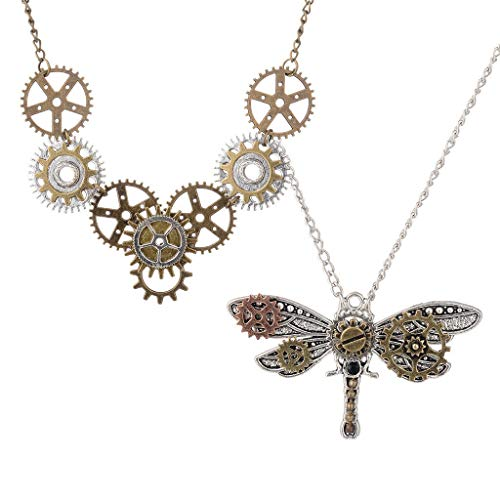 2Pcs Vintage Steampunk Gear Dragonfly Pendant Necklace Chic Chain Choker Necklace Jewelry Crafting Key Chain Bracelet Pendants Accessories -