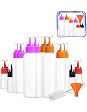 Squeeze Writer Bottles Set-12 Squeeze Cookie Icing Bottles, 1 Cleaning Brush, 1 Funnel and 1 Storage Bag, Applicator Bottles-4 of Each (1 Oz, 2 Oz, 4 Oz) for Cookie Decorating, Food Coloring