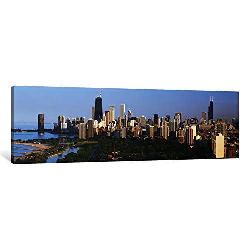 iCanvasART 1 Piece Buildings in a City, View of Hancock Building and Sears Tower, Lincoln Park, Lake Michigan, Chicago, Cook County, Illinois, USA Canvas Print by Panoramic Images, 48 x 16/0.75
