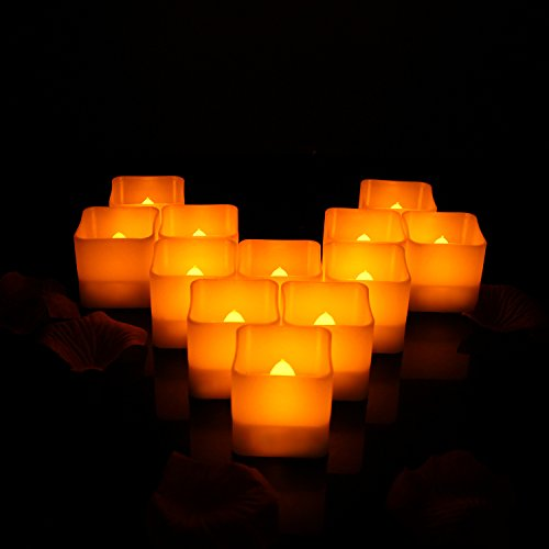 Horeset 12pcs Flameless Candle Yellow Plastic Flickering LED Tea Lights Faux Square Battery Operated Electric Lights, Fake LED Candle for Home Decor, Weddings, Birthday, Home Party Gifts(S/M/L) by Horeset
