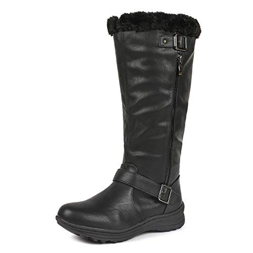 DREAM PAIRS Women's Rabbit Lady Fully Fur Lined Double Buckle Ruched Snow Knee High Winter Boots Black PU Size 9 Wide Calf (Ladies Snow Boots Size 9 Wide)