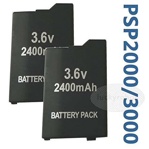 FidgetKute 2pcs 2400 mAH New Rechargeable Battery Pack for PSP 3000 Lite Extended Life
