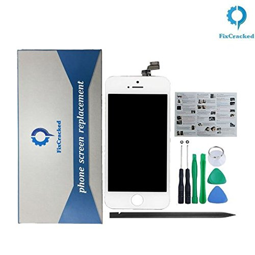 FixCracked LCD Replacement for iPhone 5 inclued iPhone 5 LCD Screen and Digitizer(AT&T/Verizon/Sprint/T-Mobile)-White for Model A1428 & A1429