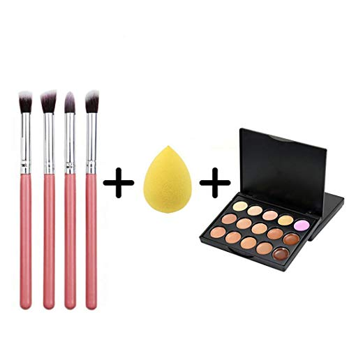 MAMOIU 4 pcs Makeup Brushes 15 color Concealer Puff Combination Cosmetic Brushes