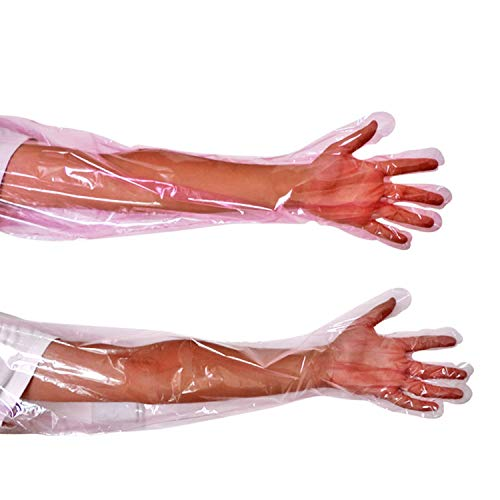 50 Pcs Disposable Soft Plastic Film Gloves Long Arm Veterinary Examination Artificial Insemination Glove by PPX by PPX (Image #4)