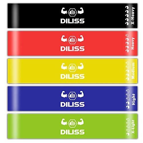 DILISS Resistance Bands Exercise Loops - Workout Flexbands for Home Fitness, Stretching Physical Therapy and More,Carry Bag, EBook and Online Workout Videos, Set of 5