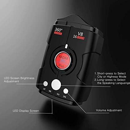 FCC Certification Blak WLZLINE Speed Camera Detector Voice Alert/&Car GPS//Radar//Laser Speed Alarm System City//Highway Mode 360 Degree Detection Radar Detectors Kit with LED Display for Cars