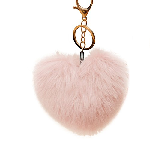 Heart Pink Key (preliked 10cm Cute Faux Fur Ball Pompom Keychain Heart Shape Car Phone Key Ring Pendant (Light Pink))