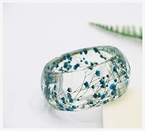 IDesign Bangle Bracelet for Women Nature Dry Flower Resin Plastic Bracelet Bangle for Women Girls in Spring Summer (Blue) -