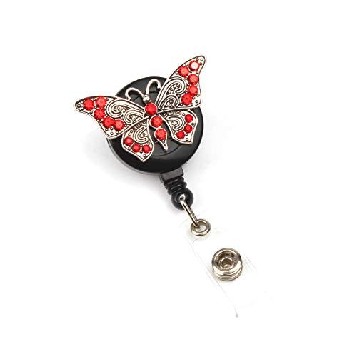 (Retractable Badge Reel, ID Badge Reel Badge Holder, Butterfly Retractable Badge Holder with Alligator Clip, 26 inch Retractable Cord )
