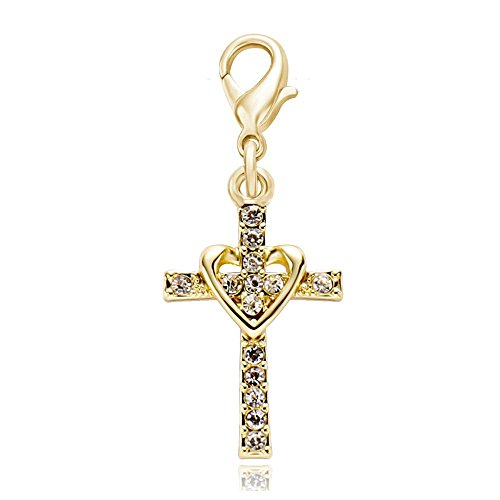 Necklace Key Chain Zipper Pull - SENFAI Heart with Cross Crystal Personality Charm Pendant Great (Gold)