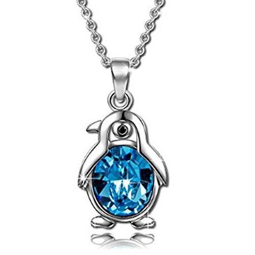 925 Sterling Silver Penguin Pendant Necklace with CZ Crystals for Her