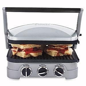 Cuisinart 5 In 1 Griddler with Panini Press, Full Grill, Full Griddle and Half Grill Half Griddle Options, Includes Dishwasher Safe Removable Cooking Plates and Red Green Indicator Lights