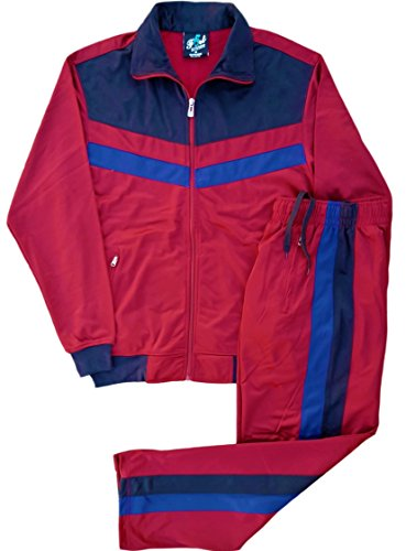 Men's rtGlad Activewear Track Pant and Track Jacket Sports Jogger Athletic Debut 90's Outfit Set (Mehroon, L) by Royal Threads Canada