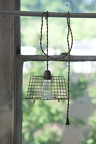 Vintage Wire Berry Basket Metal Pendant Lamp