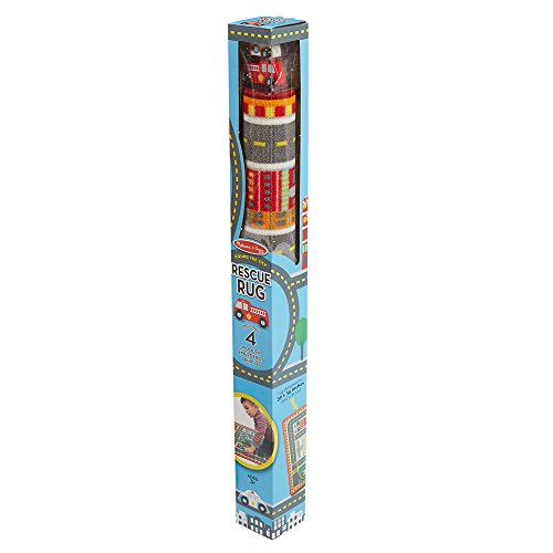 Melissa & Doug Round The City Rescue Rug With 4 Wooden Vehicles (39 x 36 ()