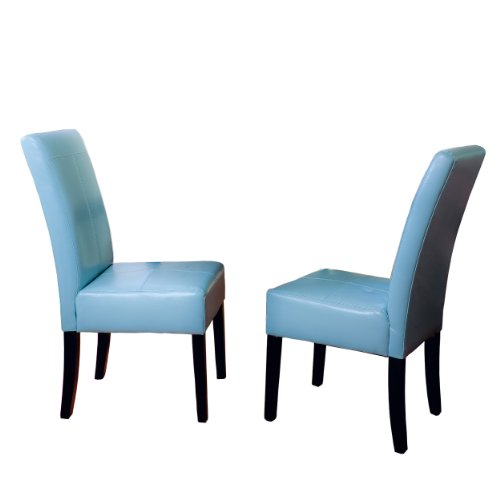 Best Selling Teal Blue T-Stitch Bonded Leather Dining Chair, 2-Pack