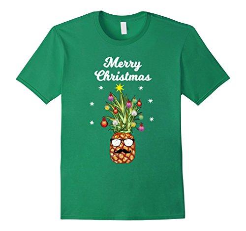 - Mens Pineapple Tree Merry Christmas T-Shirt Santa Claus Reindeer 3XL Kelly Green