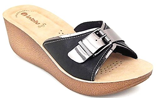 INBLU - Sandalias de vestir de piel sintética para mujer negro negro 39