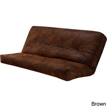 Futón cama colchón/funda tamaño completo de piel sintética una gran ...